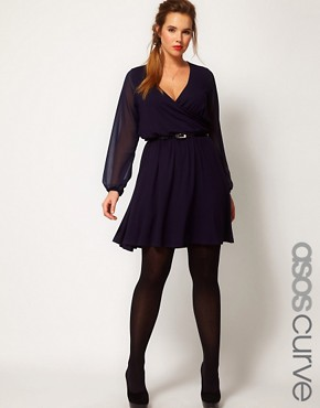 Image 1 ofASOS CURVE Wrap Dress With Chiffon Sleeves
