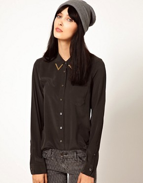 Image 1 ofEquipment Brett Silk Shirt with Gold Collar Tips