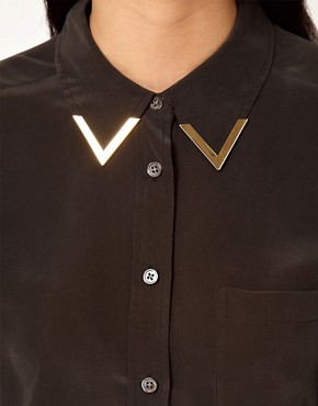 Image 3 ofEquipment Brett Silk Shirt with Gold Collar Tips