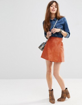 ASOS Leather Wrap Mini Skirt