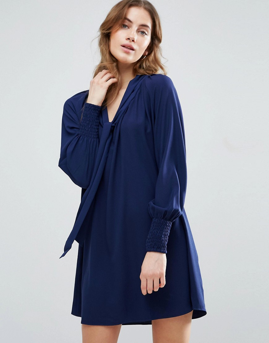 Traffic People Smock Dress With Tie Front Detail - Navy