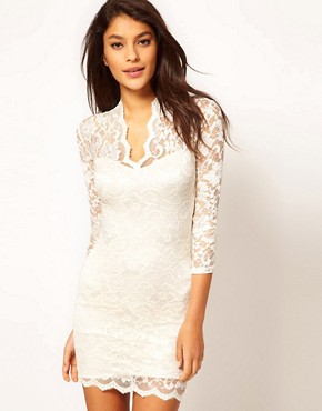 Image 1 ofASOS Lace Dress With Scalloped Neck