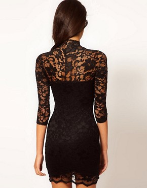 Image 2 ofASOS Lace Dress With Scalloped Neck
