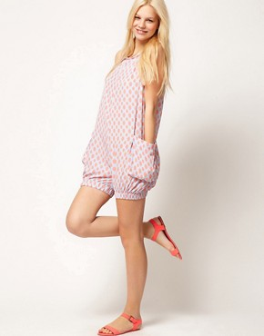 Image 4 ofASOS Bloomer Playsuit in Spot Print