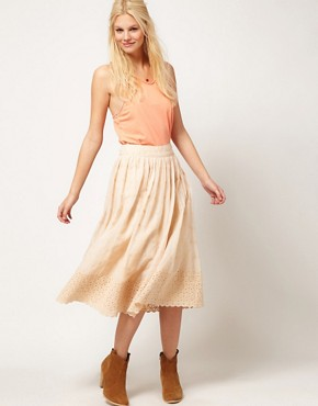 Image 1 of ASOS Full Skirt with Contrast Embroidered Hem