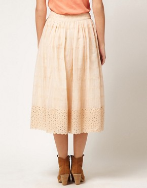 Image 2 of ASOS Full Skirt with Contrast Embroidered Hem