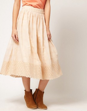 Image 4 of ASOS Full Skirt with Contrast Embroidered Hem