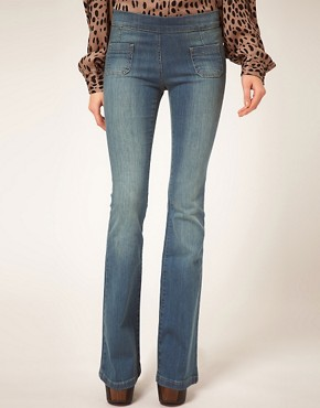 Image 1 ofASOS Supersoft Sexy Flare Jeans In Dark Stone Wash