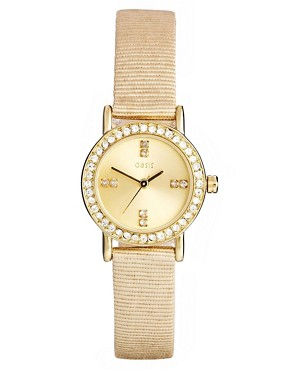 Oasis Cream Strap Gold Dial Watch With Stone Detail