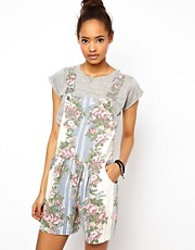 ASOS Dungaree Playsuit in Floral Print