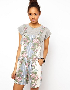 Image 1 ofASOS Dungaree Playsuit in Floral Print