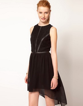 Image 1 ofOasis Lace &amp; Leather Look Dress With Dipped Hem