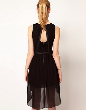 Image 2 ofOasis Lace &amp; Leather Look Dress With Dipped Hem