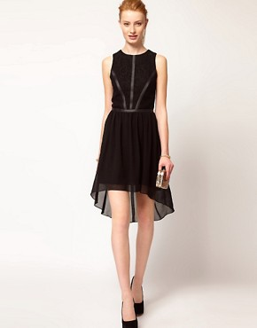 Image 4 ofOasis Lace &amp; Leather Look Dress With Dipped Hem