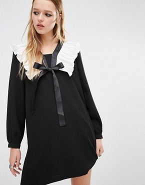 Navy London Smock Dress With Ruffle Collar And Tie Neck Detail