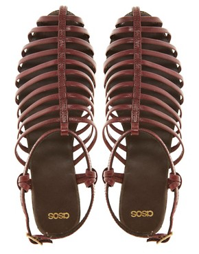 Image 4 ofASOS FAIRGROUND Leather Gladiator Flat Sandals