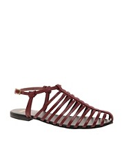 ASOS FAIRGROUND Leather Gladiator Flat Sandals