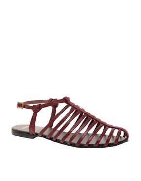Image 1 ofASOS FAIRGROUND Leather Gladiator Flat Sandals