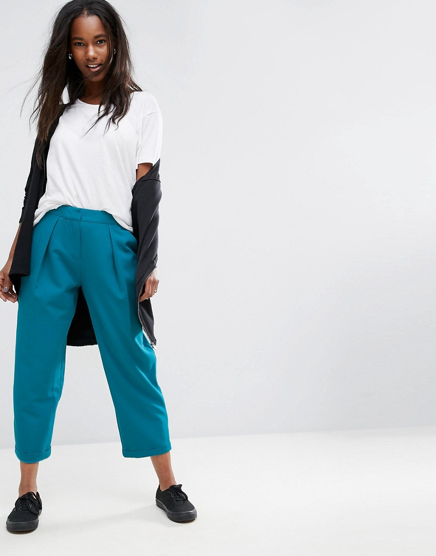 ASOS Tailored High Waist Tapered Trousers with Pleat Detail - Teal