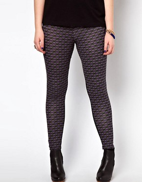 Image 4 ofASOS CURVE Exclusive Leggings With Geo Print Panel