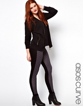 Image 1 ofASOS CURVE Exclusive Leggings With Geo Print Panel