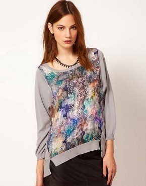 Image 1 ofWarehouse Feather Print Jumper