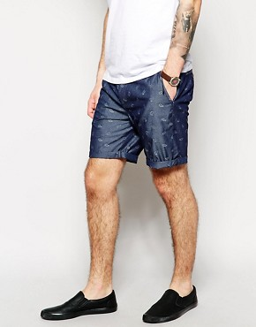 ASOS Chino Shorts In Chambray With Paisley Print