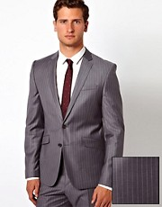 ASOS Slim Fit Suit Jacket in 100% Wool Pinstripe