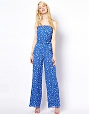 Paul and Joe Sister Swallow Print Jumpsuit in Viscose Silk Mix