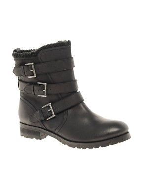 Image 1 ofASOS ANSWER Leather Biker Boots
