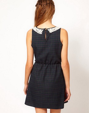 Image 2 ofJohann Earl Tartan Dress with Pearl Lace Collar