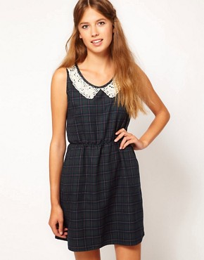 Image 1 ofJohann Earl Tartan Dress with Pearl Lace Collar