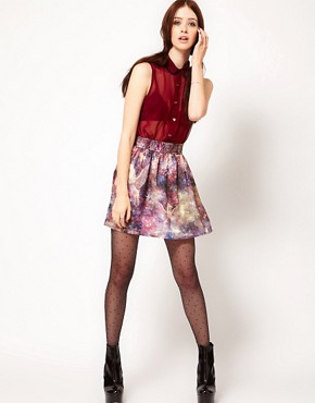 Image 1 ofHearts &amp; Bows Galactic Horse Print Skirt