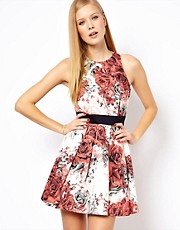 Karen Millen Floral Printed Cotton Dress with Skater Skirt