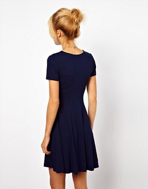 Image 2 ofASOS Skater Dress With V Neck And Short Sleeves