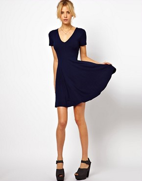 Image 4 ofASOS Skater Dress With V Neck And Short Sleeves