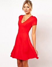 ASOS Skater Dress With V Neck And Short Sleeves