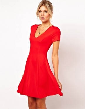 Image 1 ofASOS Skater Dress With V Neck And Short Sleeves