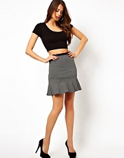 TFNC Pencil Skirt With Frill Hem In Jacquard Jersey