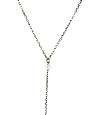 Image 4 ofLaura Lee Exclusive To ASOS Pearl Y Necklace