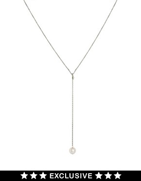 Image 1 ofLaura Lee Exclusive To ASOS Pearl Y Necklace