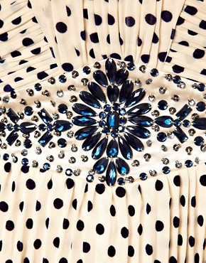 Image 3 ofLittle Mistress Embellished Polka Prom Dress