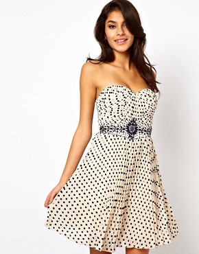 Image 1 ofLittle Mistress Embellished Polka Prom Dress