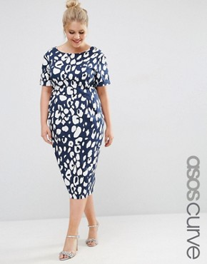 ASOS CURVE Animal Print Wiggle Dress