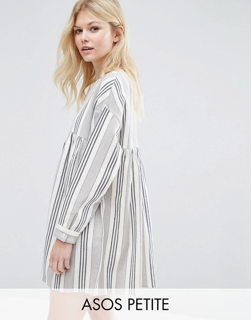 ASOS PETITE Long Sleeve Smock Dress in Natural Stripe - Multi