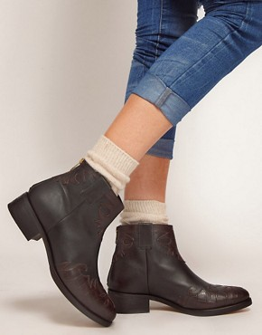 Image 3 ofASOS ANXIOUS Western Leather Ankle Boots