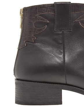 Image 4 ofASOS ANXIOUS Western Leather Ankle Boots