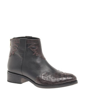 Image 1 ofASOS ANXIOUS Western Leather Ankle Boots