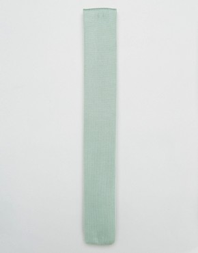 ASOS WEDDING Knitted Tie In Mint
