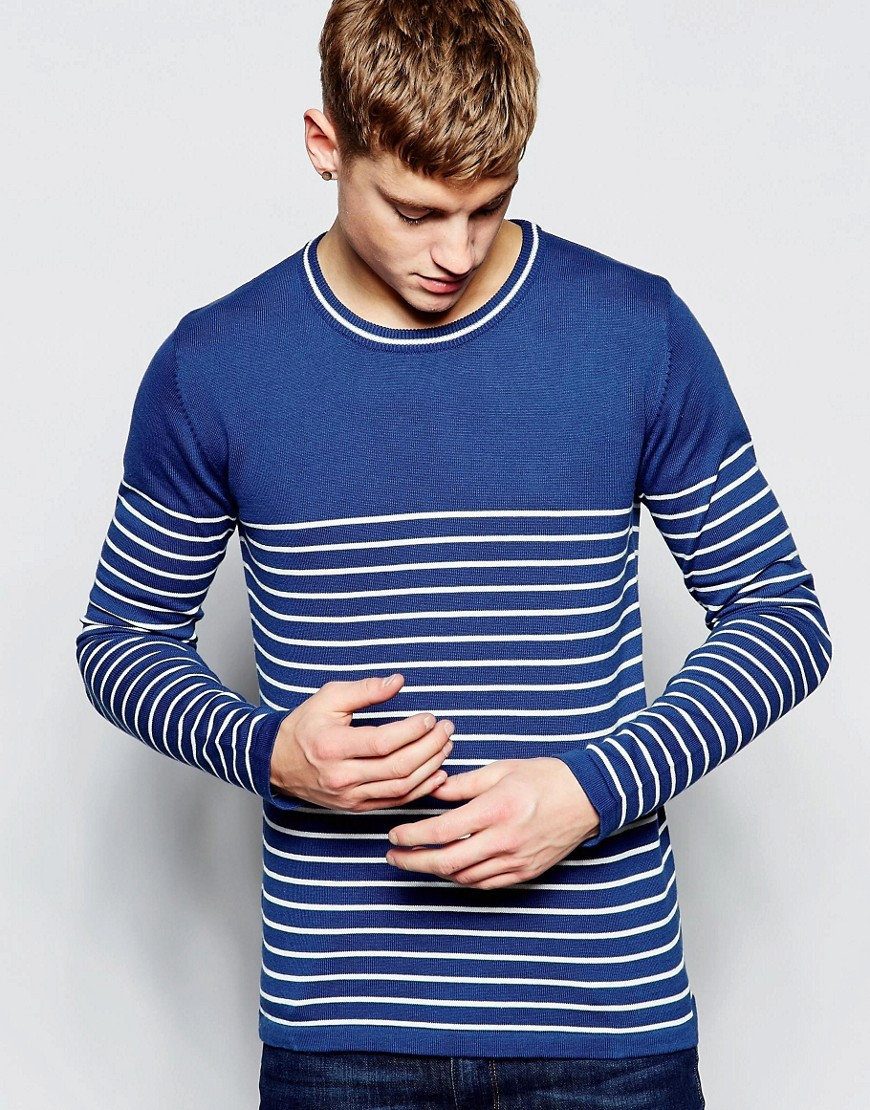 Solid Breton Stripe Knitted Sweater - Blue